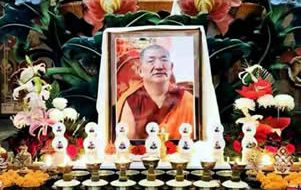 Shrine during prayers at Mindrolling for Kyabje Kathog Getse Rinpoche