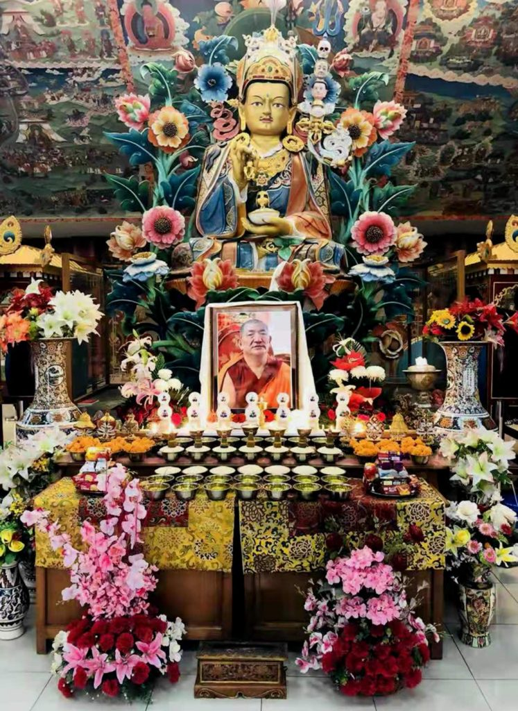 Shrine during prayers at Mindrolling for Kyabje Kathok Getse Rinpoche