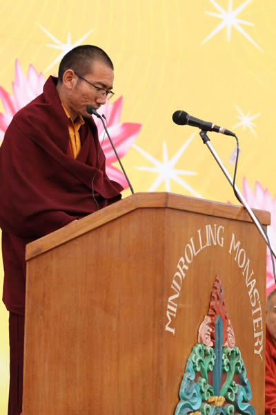 Khenpo Ogyen Tenzin giving the welcome remarks during the Silver Jubilee of the Ngagyur Nyingma College