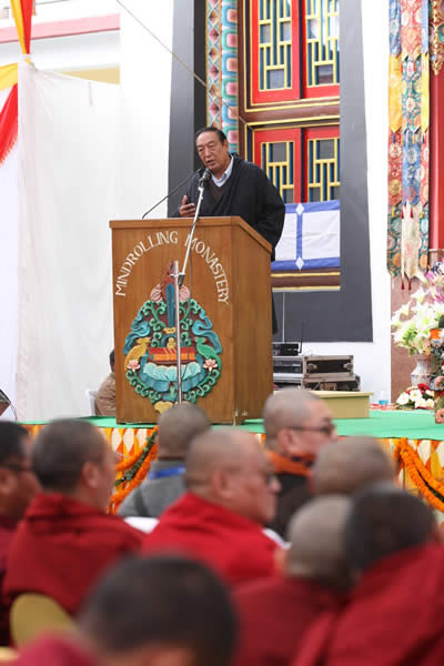Honorable Mr. Pema Chojor, Kalon Religion and Culture, CTA during the Silver Jubilee ceof the Ngagyur Nyingma College