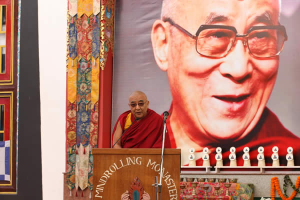 The Representative of Gaden Phodrang, Ven. Thamtog Rinpoche presenting the message of HH the Dalai Lama during the Silver Jubilee celebration of the Ngagyur Nyingma College
