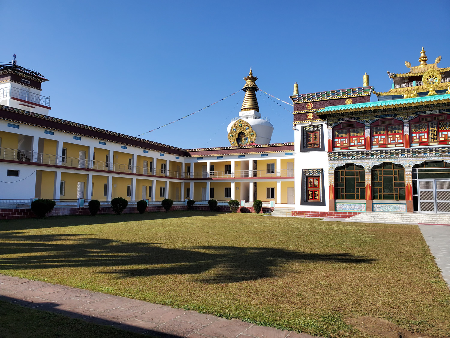 View of the renovated housing wing at Mindrolling Monastery